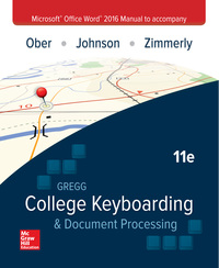 Microsoft Office Word 2016 Manual for Gregg College Keyboarding & Document Processing (GDP) 11th Edition – PDF ebook*
