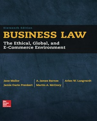 Business Law 16th Edition by Jane Mallor – PDF ebook*